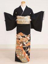 黒留袖レンタル(TS-6)黒/おしどり・宝づくし 正絹