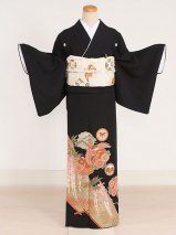 黒留袖レンタル(TS-7)黒/鳳凰・藤 正絹