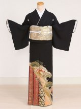 黒留袖レンタル(TS-9)黒/松・雪輪・宝づくし 正絹