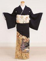黒留袖レンタル(TS-10)黒/松・花 正絹