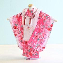 七五三着物三歳女の子レンタル(3-61)ピンク・白/バラ ファンタジー