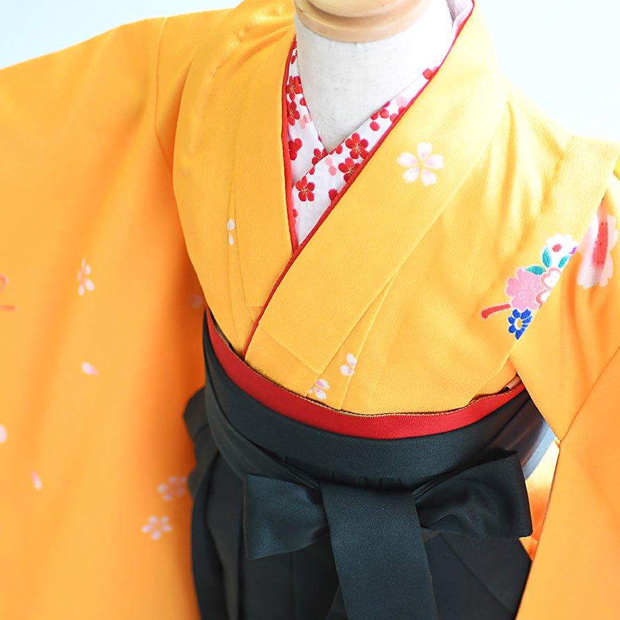 6〜7歳女児袴レンタルセット(7-2-ha_g)黄/まり・梅 緑/無地