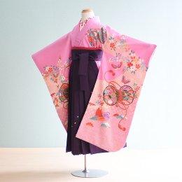 女児袴レンタル(7-5-ha_m5)6〜7歳 うす紫/つづみ|紫/刺繍・桜