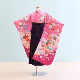 女児袴レンタル(7-12-ha_m6)6〜7歳 紫ピンク/花・まり|紫/刺繍・桜