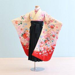 女児袴レンタル(7-13-ha_g2)6〜7歳 クリーム/花・蝶|緑/刺繍・桜