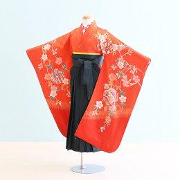 女児袴レンタル(7-26-ha_g3)6〜7歳 赤/つづみ・まり|緑/刺繍・桜