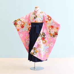 女児袴レンタル(7-48-ha_k5)6〜7歳 ピンク/花|紺/刺繍・桜