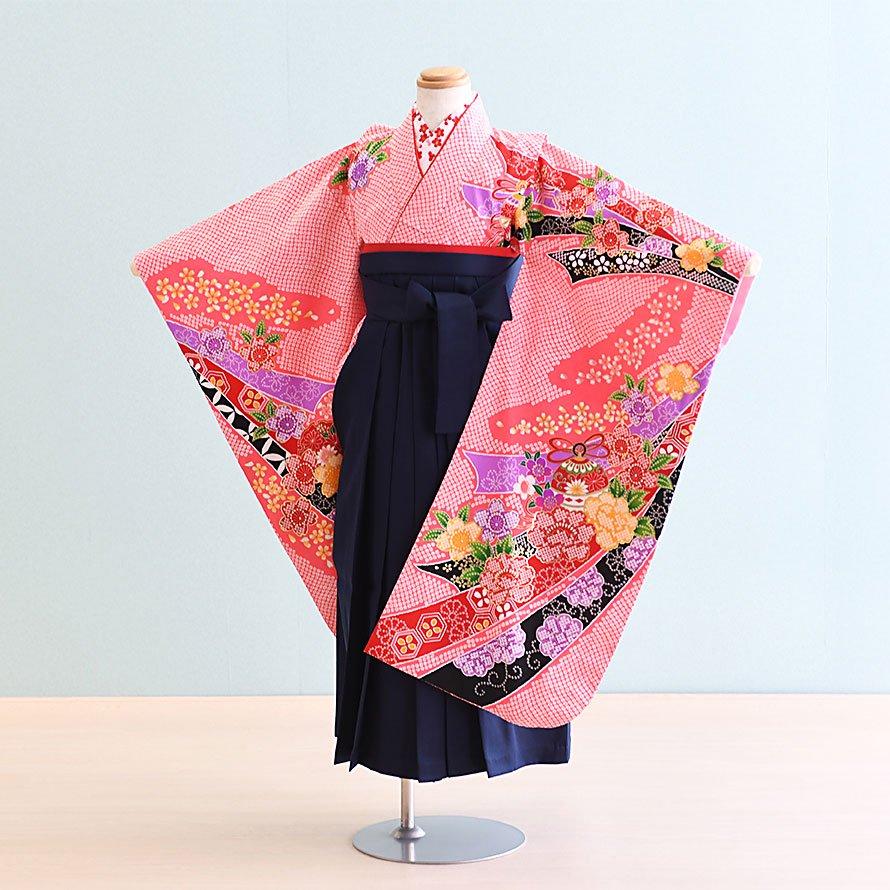 6〜7歳女児袴レンタルセット(7-17-ha_k6)ピンク/しぼり・熨斗・花 紺/無地