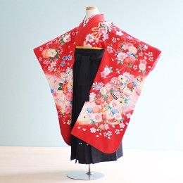 女児袴レンタル(7-10-ha_b5)6〜7歳 赤/花・まり|黒/刺繍・桜