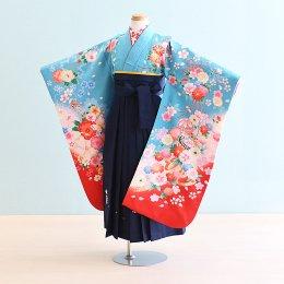 女児袴レンタル(7-11-ha_k7)6〜7歳 水色/花|紺/刺繍・桜