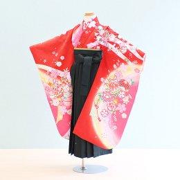 女児袴レンタル(7-52-ha_g6)6〜7歳 赤/花・まり|緑/刺繍・桜