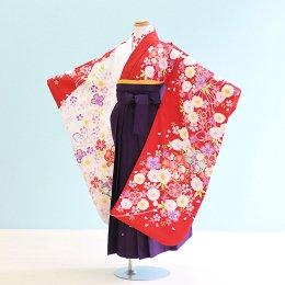 女児袴レンタル(7-55-ha_m9)6〜7歳 赤×白/花|紫/刺繍・桜