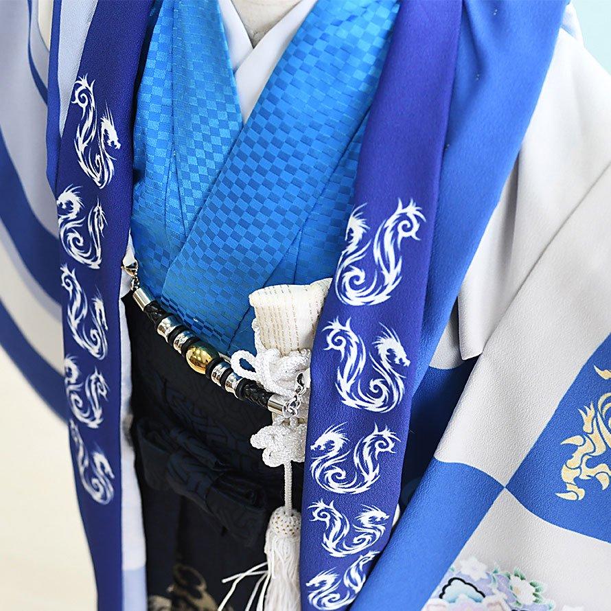七五三着物五歳羽織袴レンタルセット(5-62)青×グレー/龍・和柄 おりびと