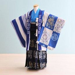 七五三着物五歳男の子レンタル(5-62)青×グレー/龍・和柄 おりびと