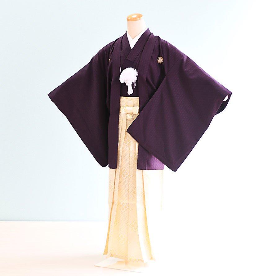 激安格安 12~13歳男児ジュニア袴レンタルセット(JB-10)濃い紫|白金/菱|十三参り・卒業式・表彰式・イベ…