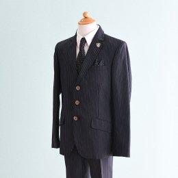 男の子スーツレンタル(FB-94)140 黒・紺/ストライプ hiromichi nakanoヒロミチナカノ