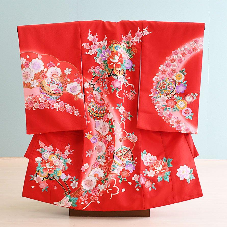 激安格安 お宮参り・初着レンタル 女の子用(O-41)赤/まり・花・花車|産着・のしめ・祝い着