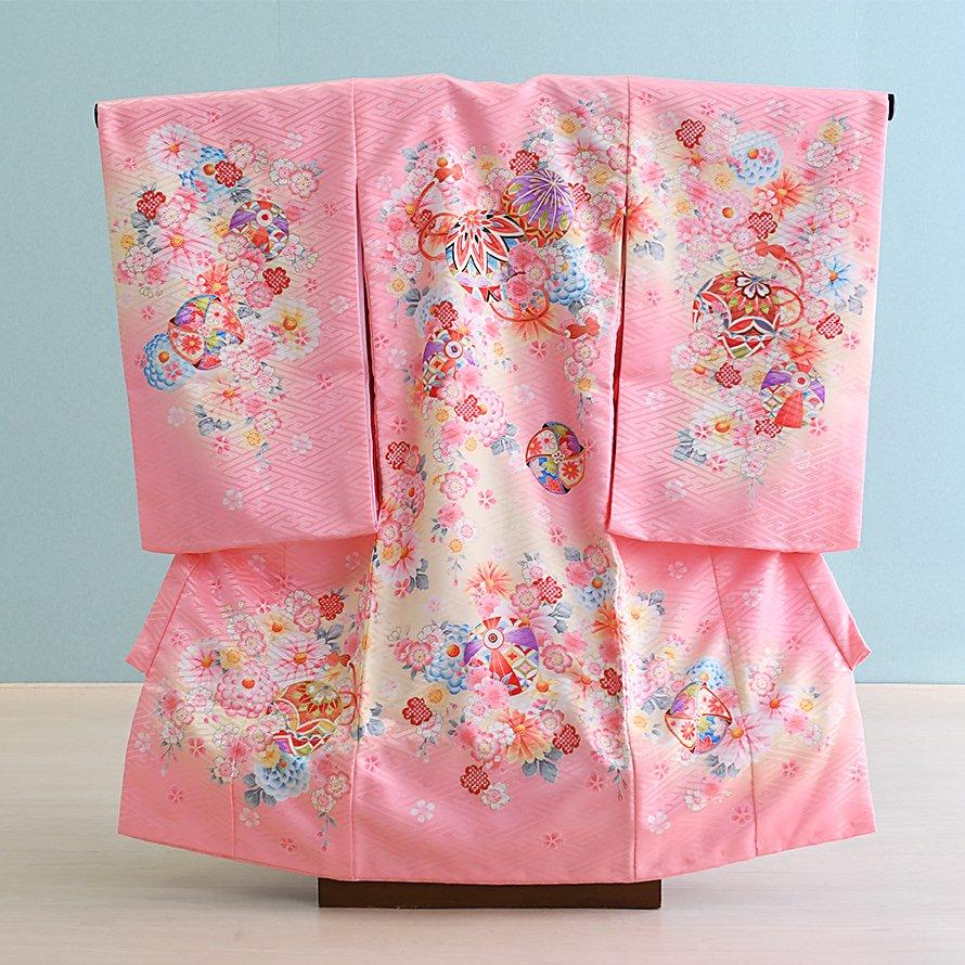 激安格安 お宮参り・初着レンタル 女の子用(O-43)ピンク/まり・桜 産着・のしめ・祝い着