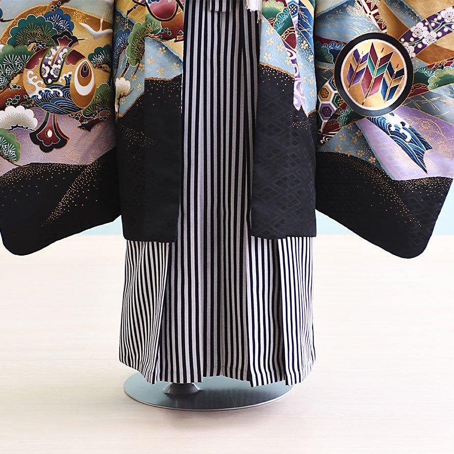 七五三着物五歳羽織袴レンタルセット(5-69)うぐいす色/たか