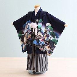 七五三着物五歳男の子レンタル(5-70)100/小さめ 紺/たか