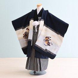 【かんたん着付】七五三着物五歳男の子レンタル(5-73)黒×紺/かぶと・紗綾形