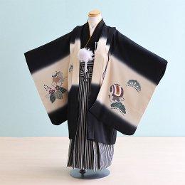 【かんたん着付】七五三着物五歳男の子レンタル(5-75)黒/たか・松