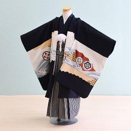 【かんたん着付】七五三着物五歳男の子レンタル(5-76)紺/たか・波