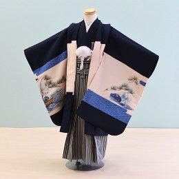 【かんたん着付】七五三着物五歳男の子レンタル(5-78)紺/たか・菱紋