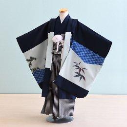 【かんたん着付】七五三着物五歳男の子レンタル(5-79)紺/たか・松