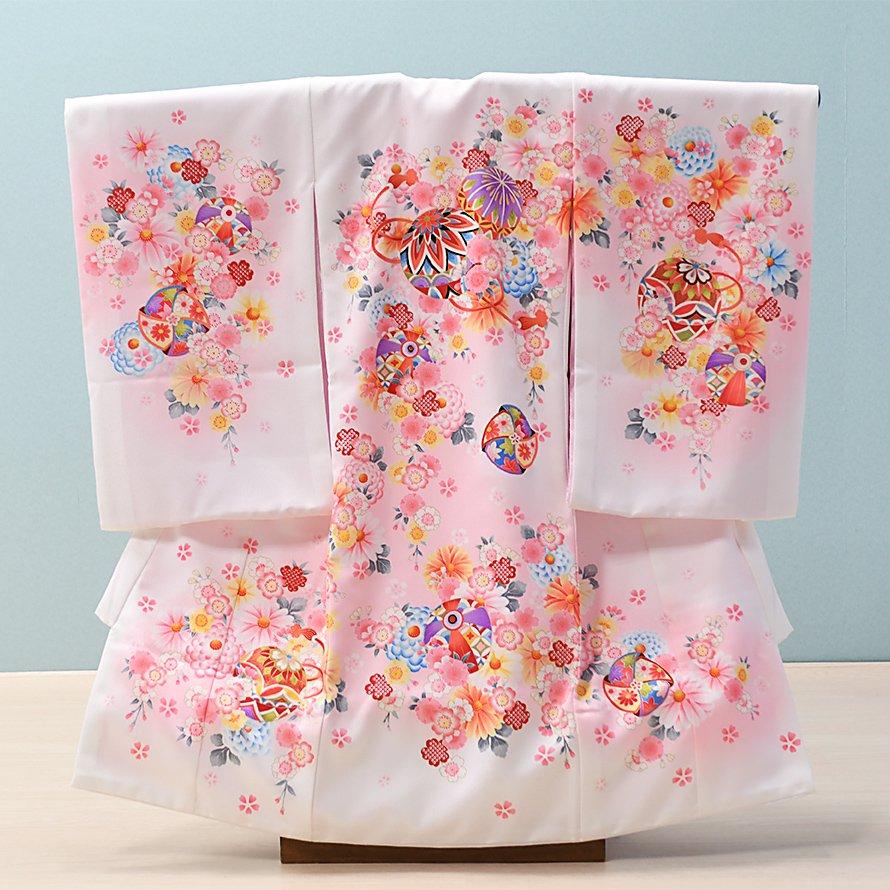 激安格安 お宮参り・初着レンタル 女の子用(O-51)白×ピンク/まり|産着・のしめ・祝い着