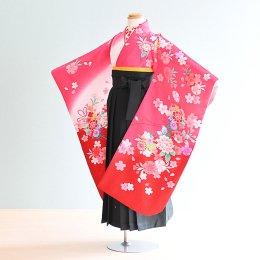 女児袴レンタル(7-67-ha_g8)6〜7歳 ピンク・白・赤/桜|緑/刺繍・桜
