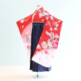 女児袴レンタル(7-66-ha_k9)6〜7歳 赤・ピンク・白/桜|紺/刺繍・桜