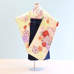 女児袴レンタル(7-71-ha_k11)6〜7歳 うす黄緑/花|紺/刺繍・桜