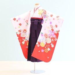 女児袴レンタル(7-72-ha_m12)6〜7歳 ピンク×赤/桜|紫/刺繍・桜