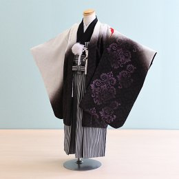 七五三着物五歳男の子レンタル(5-83)白×紫/鳳凰・ペルシャ文様