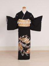 黒留袖レンタル(TS-12)黒/鶴・藤 正絹
