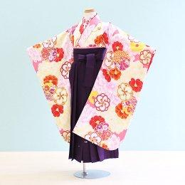 女児袴レンタル(7-59-ha_m13)6〜7歳 ピンク・クリーム/花|紫/刺繍・桜 花わらべ