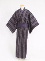 男性浴衣レンタル(YM-4)黒/縞