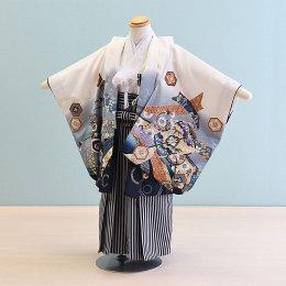 七五三着物五歳男の子レンタル(5-90)100/小さめ 白/たか