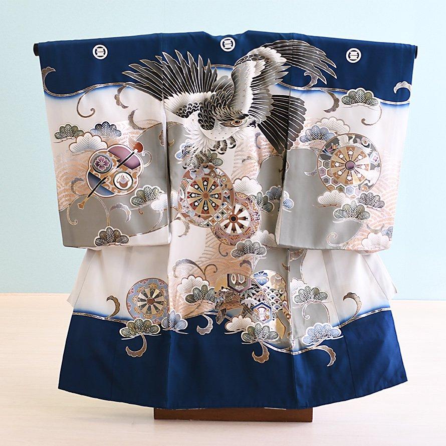 お宮参り男の子産着レンタル(OM-70)濃い青/たか 正絹