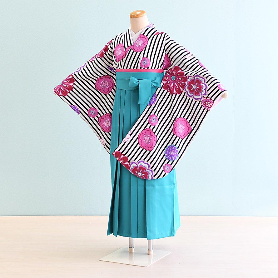 12〜13歳女児ジュニア袴レンタルセット(JG-22)白黒/花|エメラルドグリーン