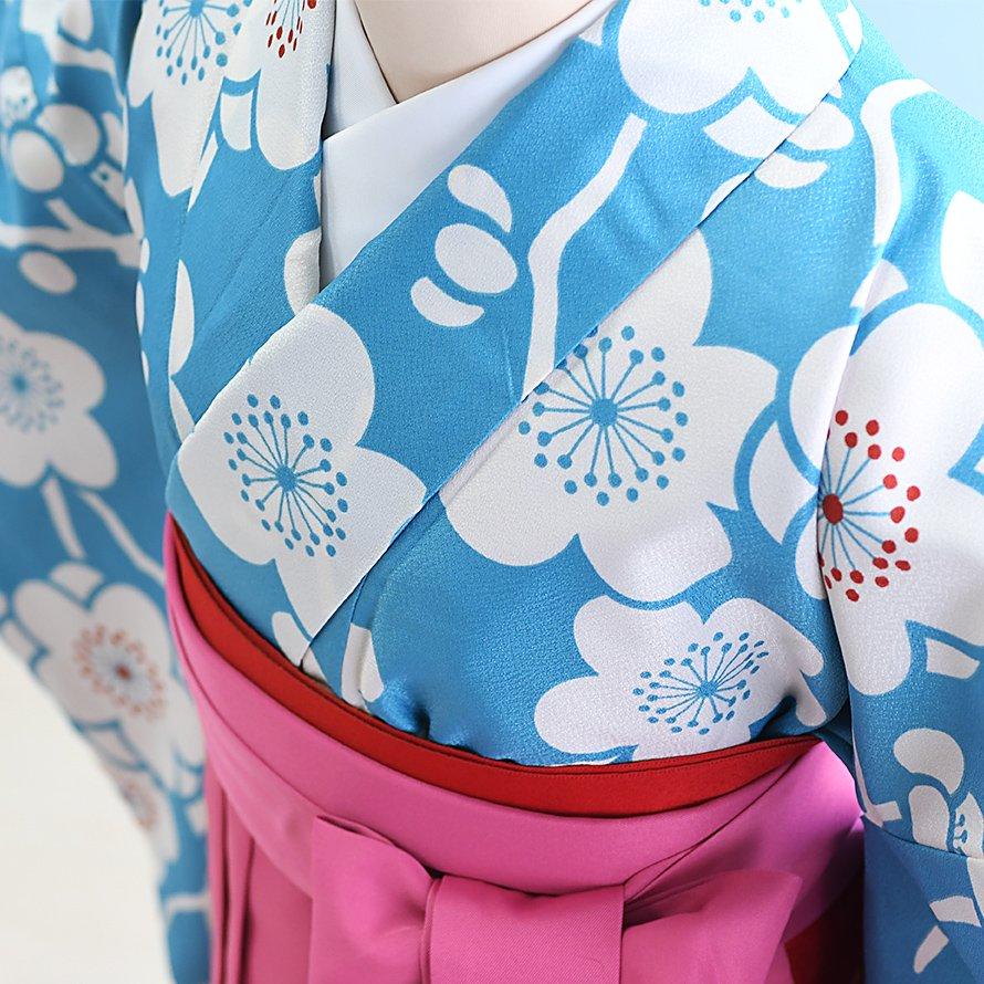 12〜13歳女児ジュニア袴レンタルセット(JG-23)水色/梅|ピンク/桜・刺繍
