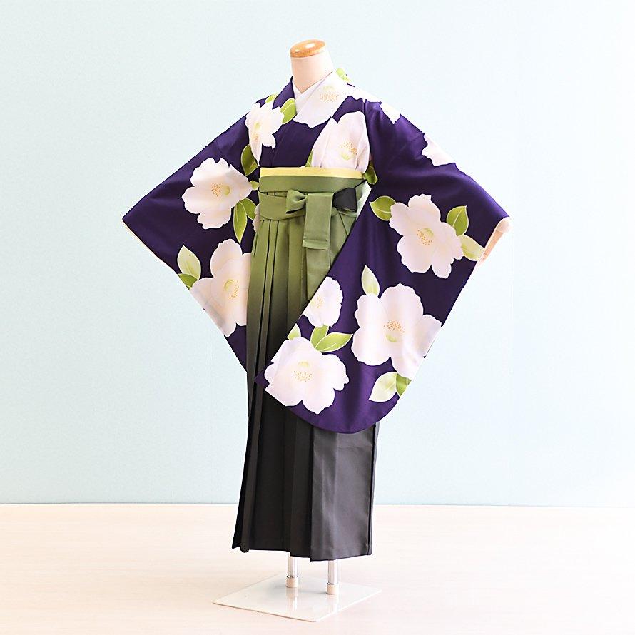 12〜13歳女児ジュニア袴レンタルセット(JG-19)紫/ぼたん 若草色ぼかし