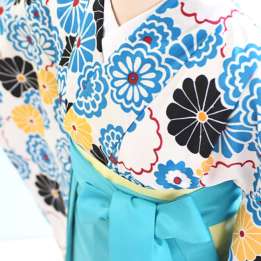 12〜13歳女児ジュニア袴レンタルセット(JG-25)オフホワイト/花 エメラルドグリーン/桜・刺繍