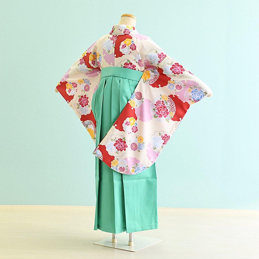 12〜13歳女児ジュニア袴レンタルセット(JG-27)クリーム/雪輪|ライトグリーン/桜・刺繍