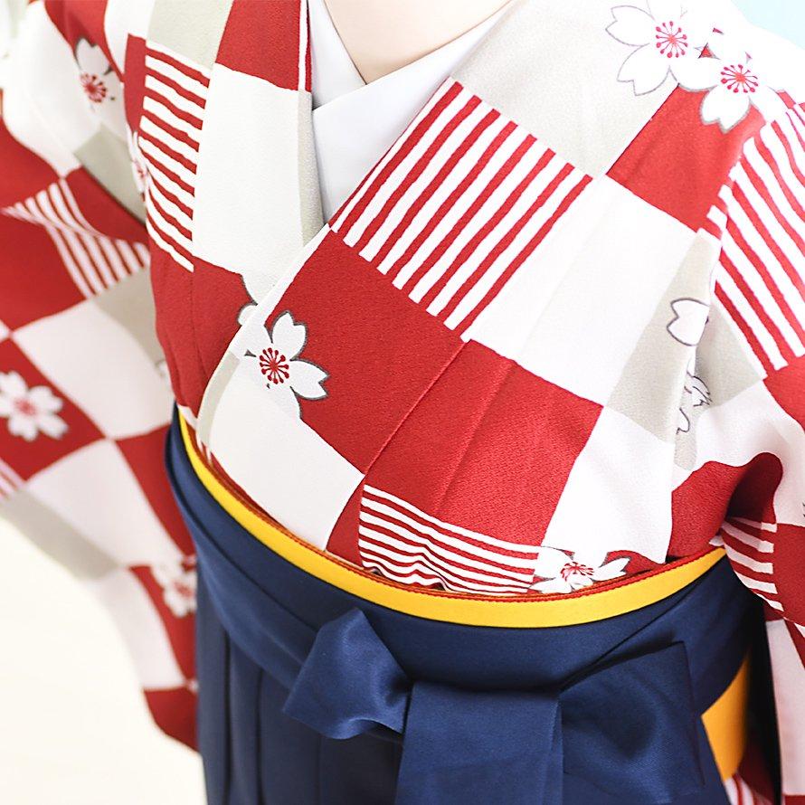 12〜13歳女児ジュニア袴レンタルセット(JG-28)赤・白/市松模様|紺/桜・刺繍