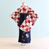 女児ジュニア袴レンタル(JG-28)12〜13歳 赤×白/市松模様|紺/刺繍・桜