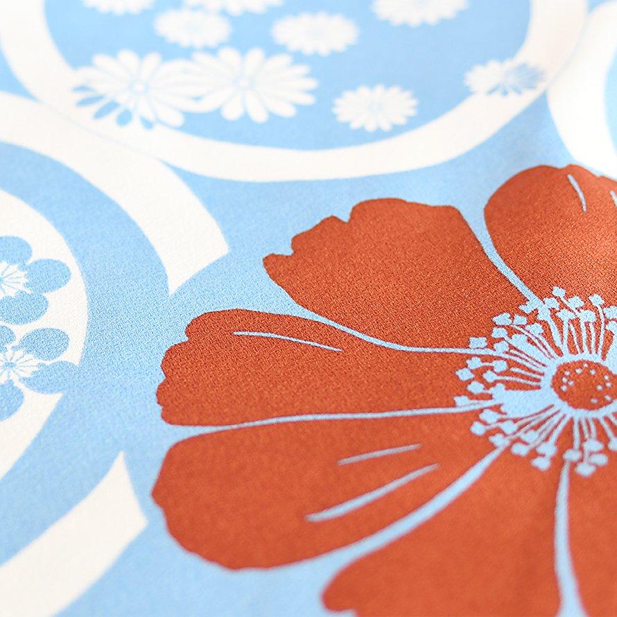 12〜13歳女児ジュニア袴レンタルセット(JG-29)水色/花 エンジぼかし/桜・刺繍