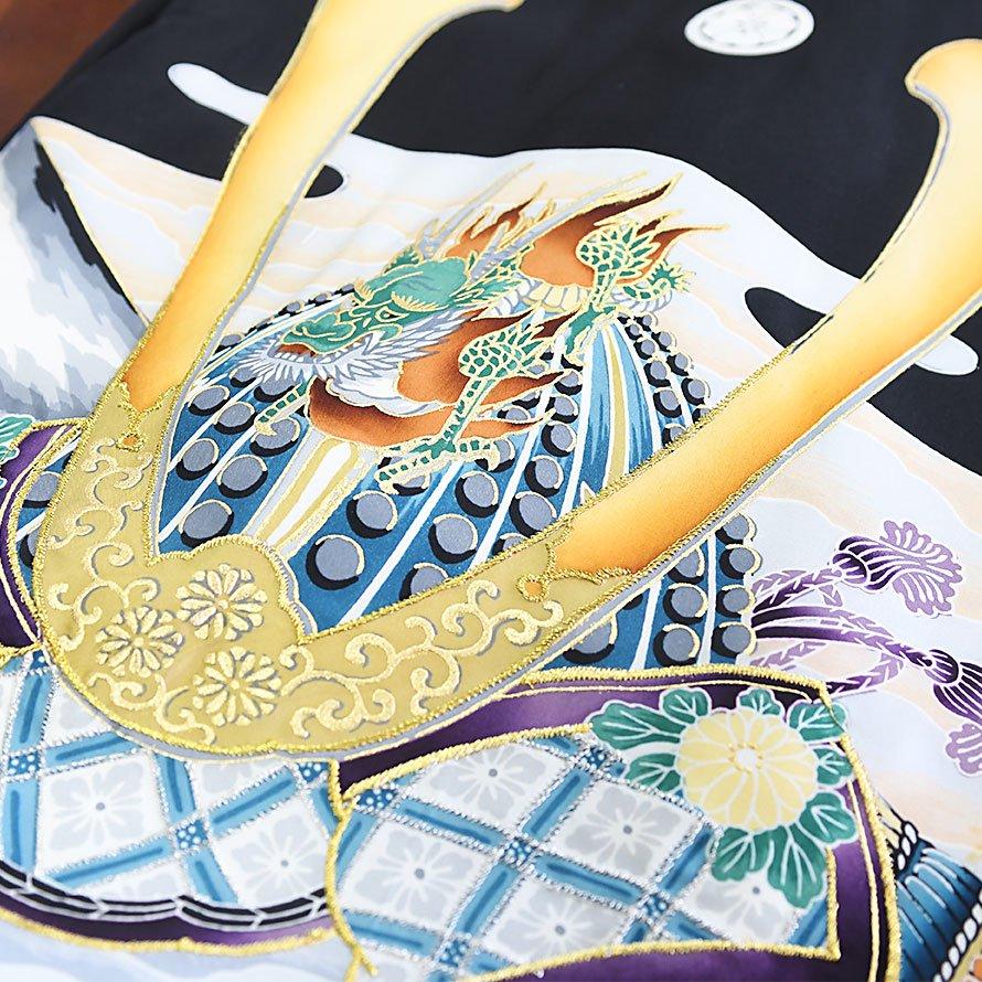 お宮参り・産着レンタル 男の子用(OM-72)黒/かぶと