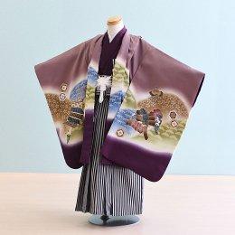 男児袴レンタル(5-20)紫/かぶと